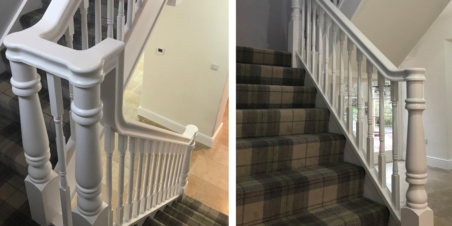 white continuous handrail, white staircase, stair parts uk