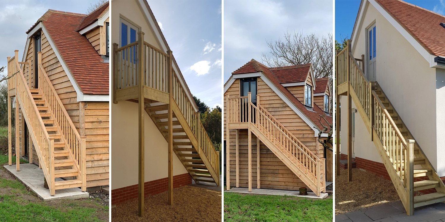 external timber staircase, exterior wooden staircase
