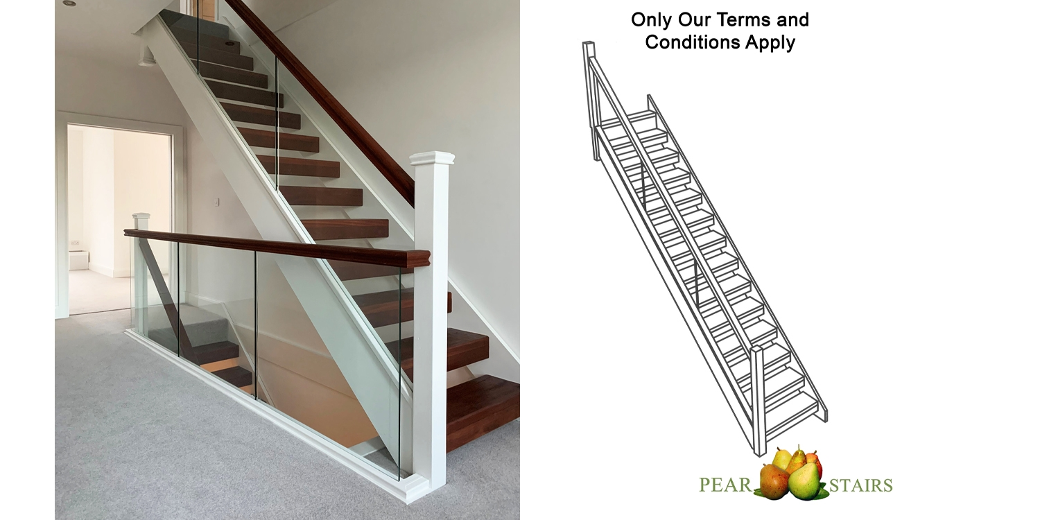 glass staircase, wood and glass stairs, modern staircase, mixed material, stair parts uk
