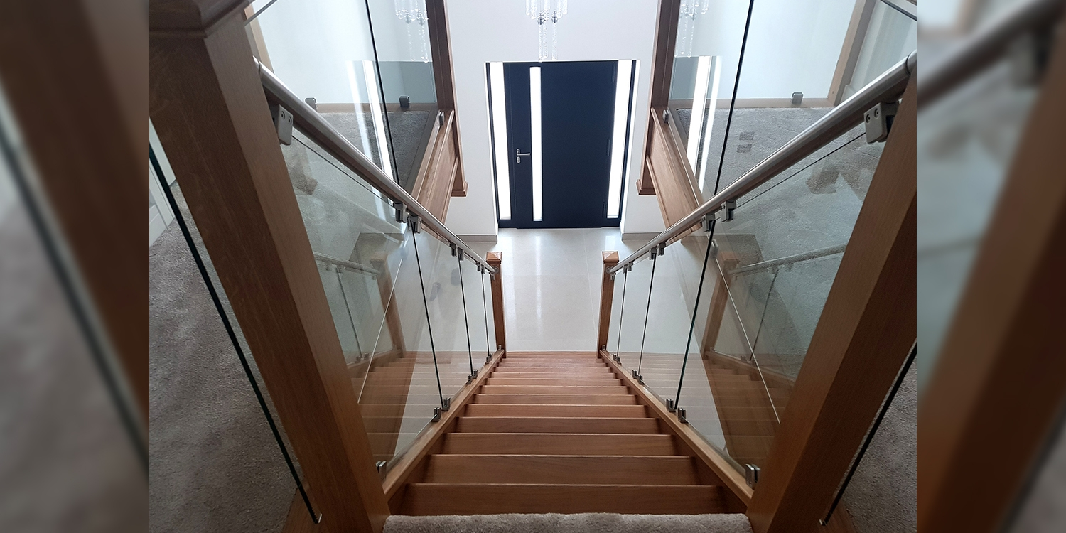 metal staircase, glass staircase, wood staircase, pear stairs