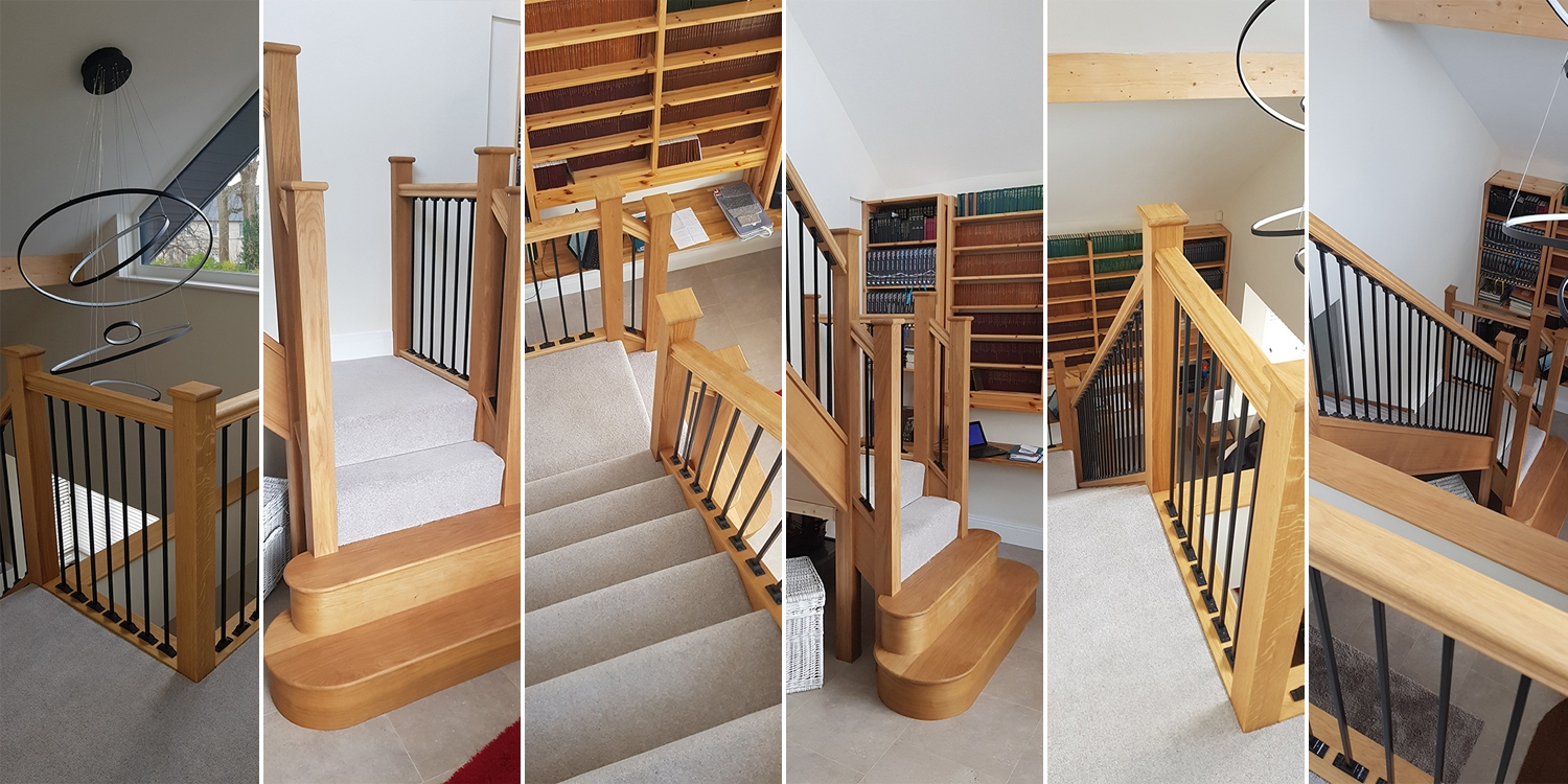 return balustrade, oak staircase uk, pear stairs