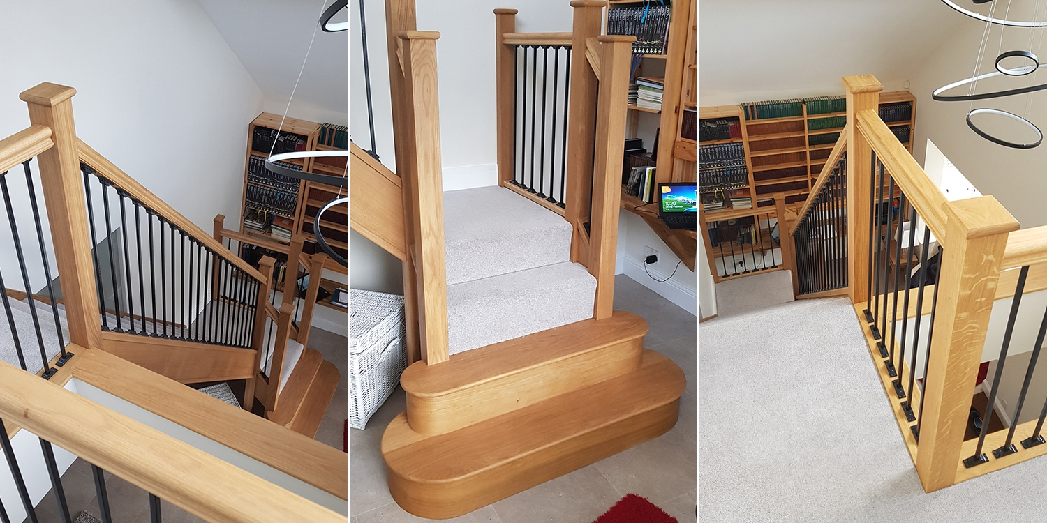oak staircase, feature step staircase, return balustrade, pear stairs