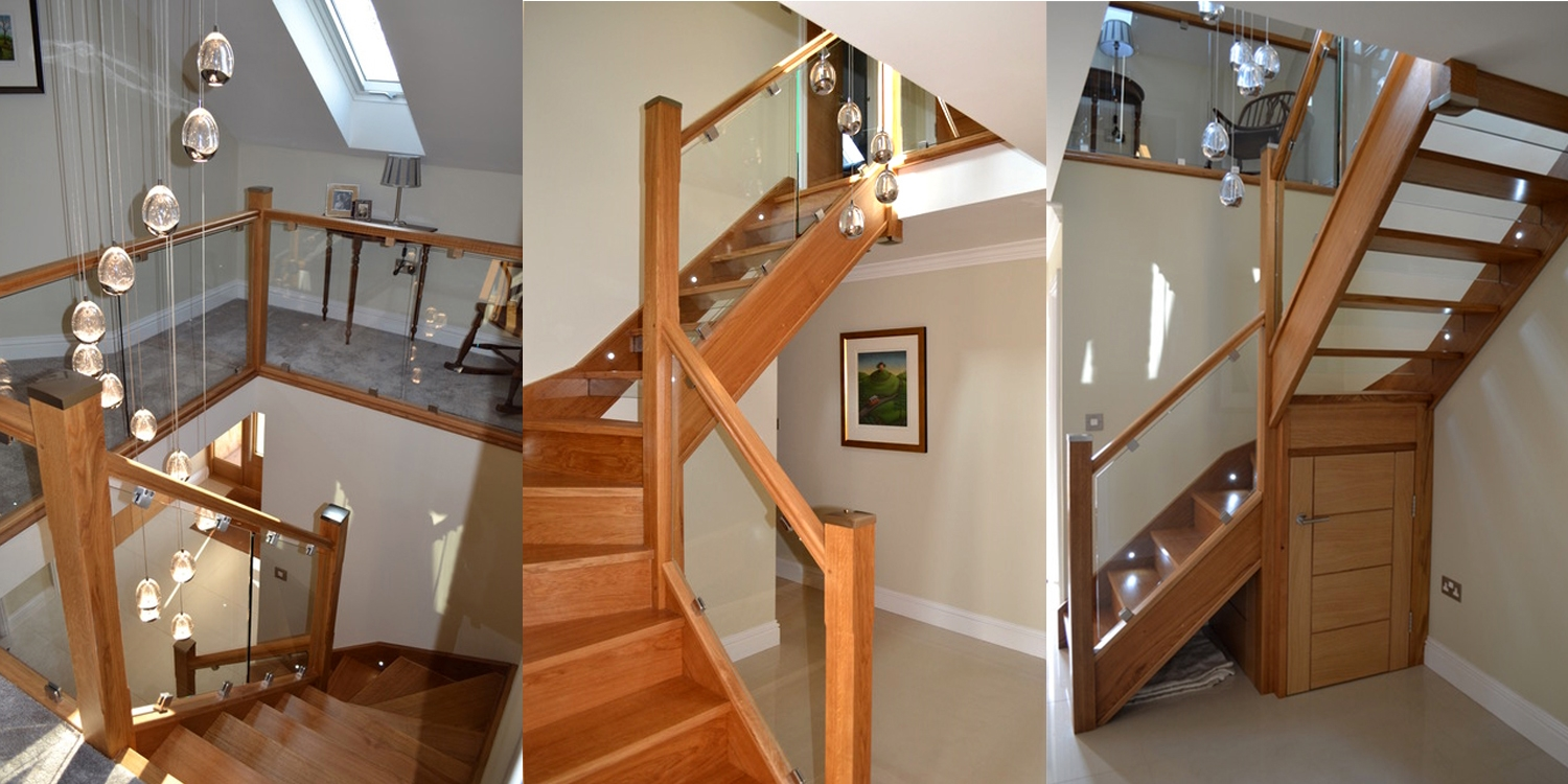 glass staircase, metal staircase, oak staircase, pear stairs