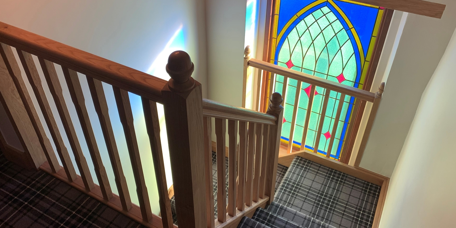 stained glass staircase, stained glass window
