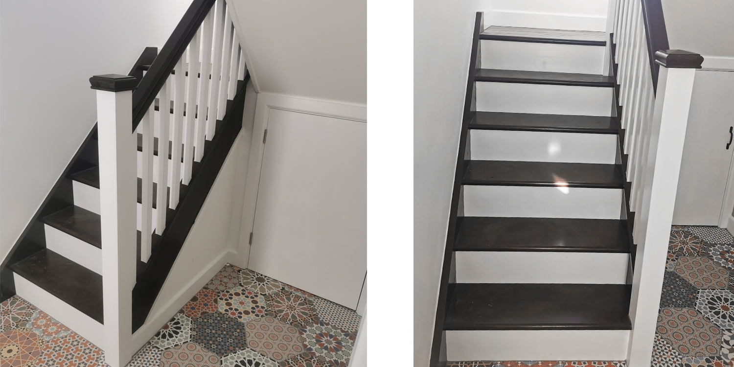 black and white staircase, punchy interior design