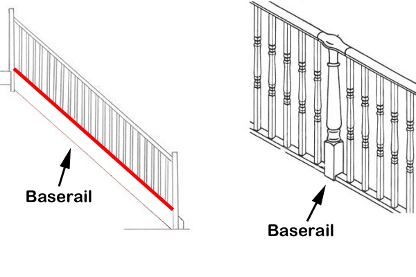 Baserail and baluster illustration