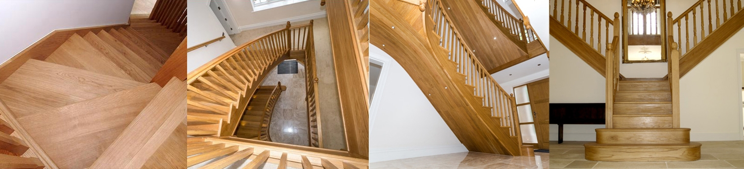 Large curved , winder and double oak staircases for a three storey house