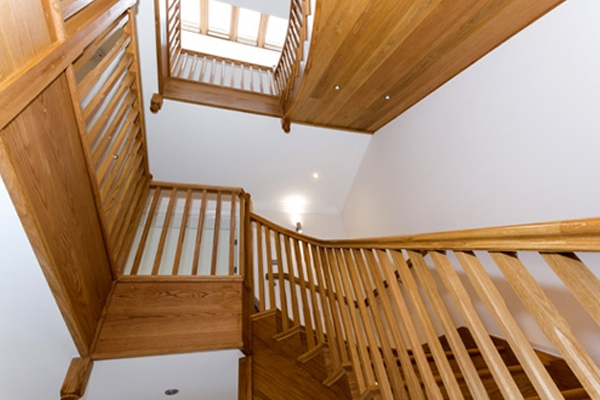 Wooden staircase for a grand hallway