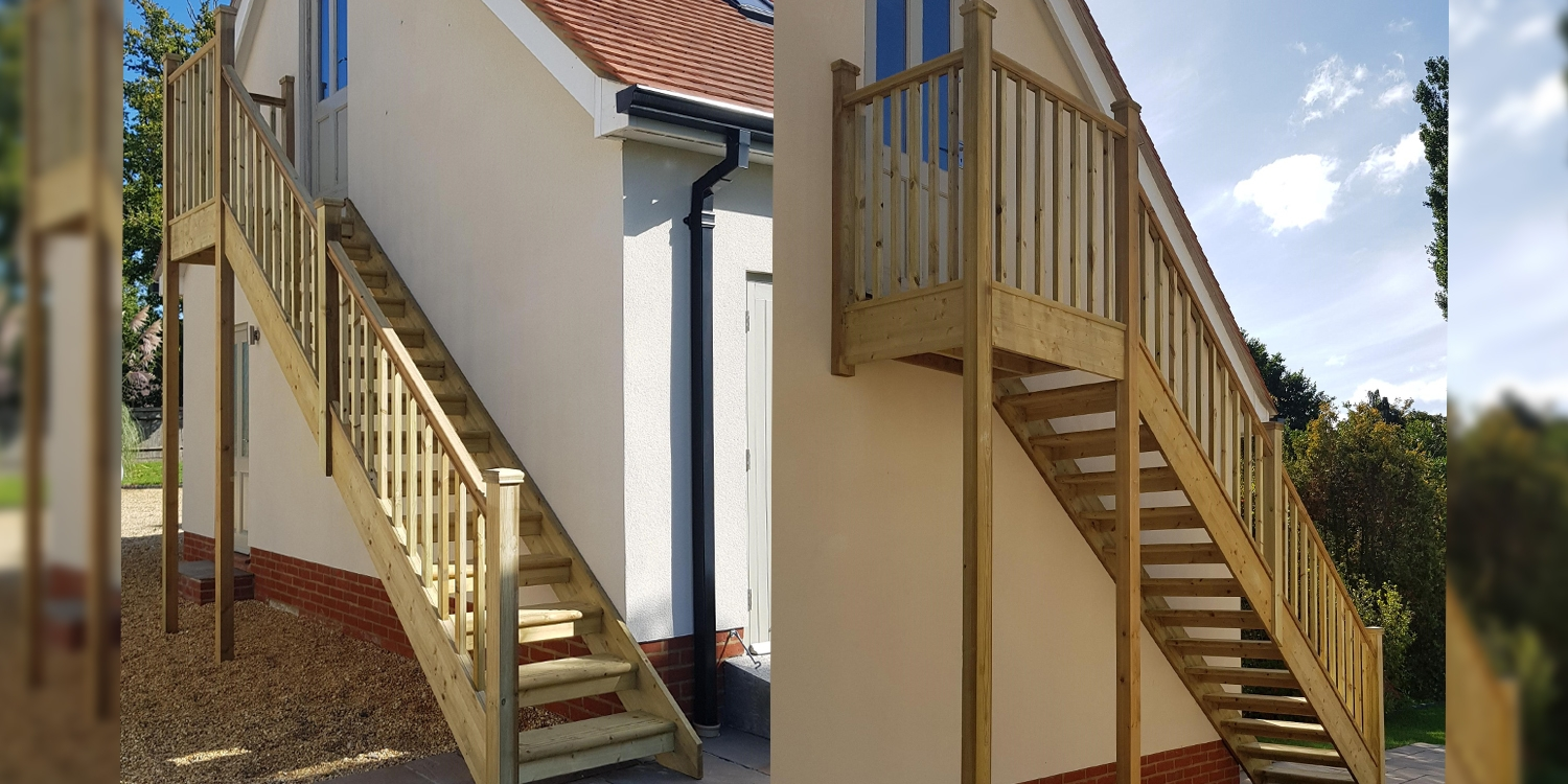 exterior softwood staircase, pear stairs staircase, outside staircase