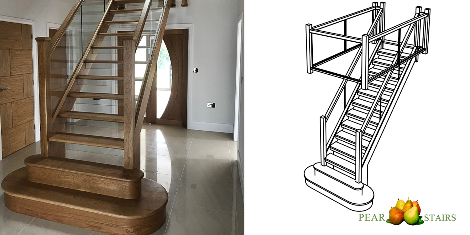 oak and glass staircase design, oak stairs uk, glass stairs uk