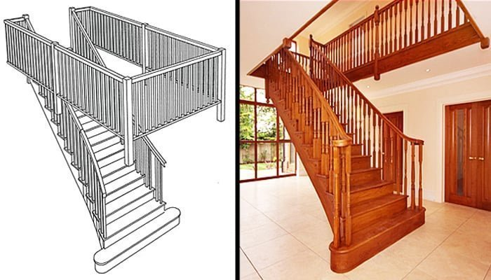 Splayed staircase