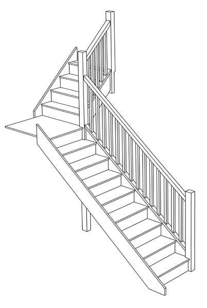 staircase design stair ideas wooden staircase designers uk Newel Post Finials 3d drawing quarter landing