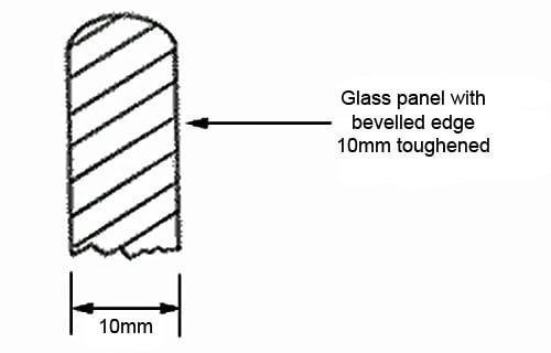 Glass panel bevelled edge
