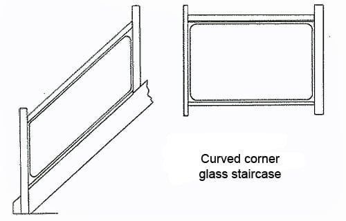Curved Corner Glass Staircase