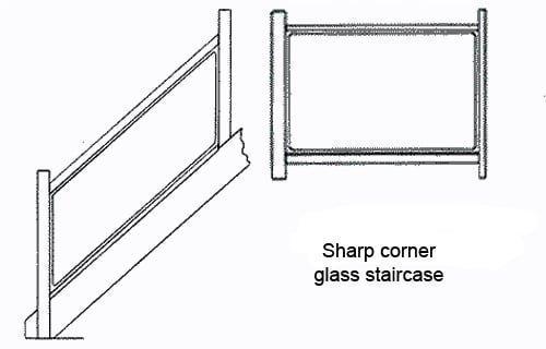 Sharp corner glass staircase