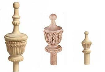 Hand-carved newel caps