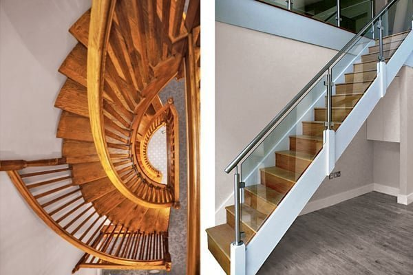 Curved oak stairs and glass stairs