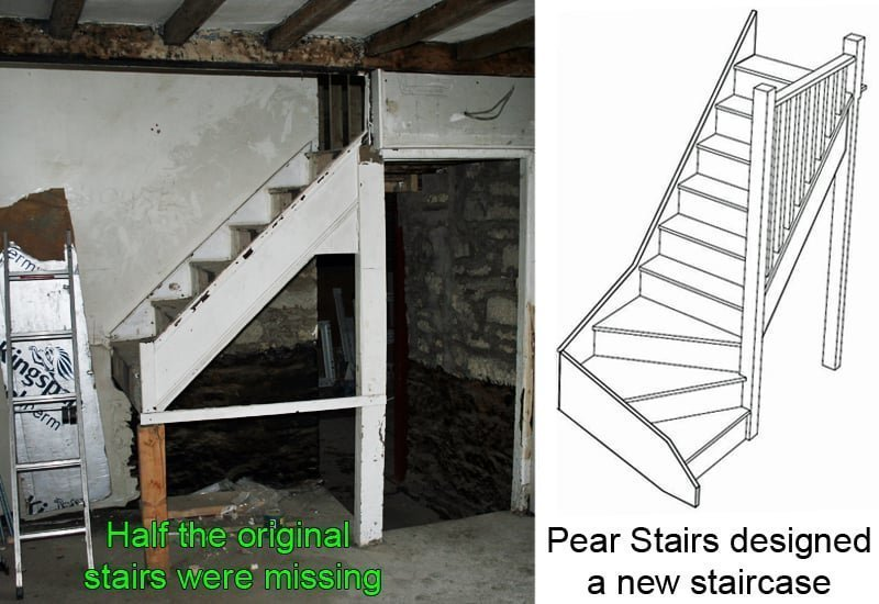 The derelict staircase and new stair design by Pear Stairs