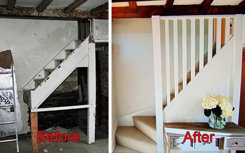 The old and new stairs supplied by Pear Stairs for DIY:SOS