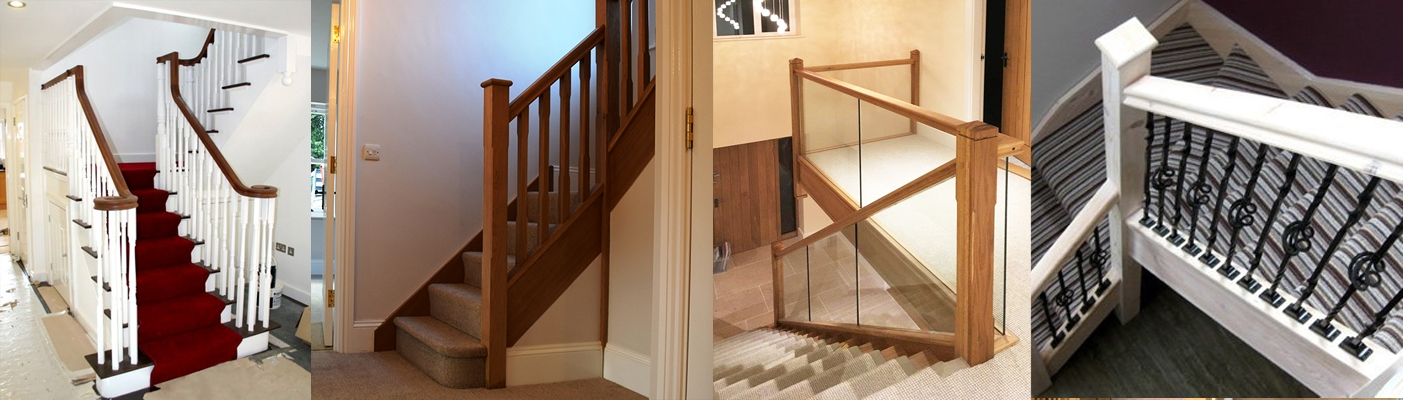 Balustrade for staircases, landing, and balconies with glass panelling or traditional spindles
