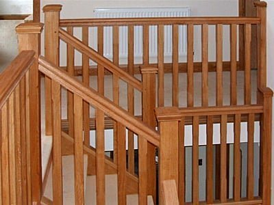 Stair banisters in European oak