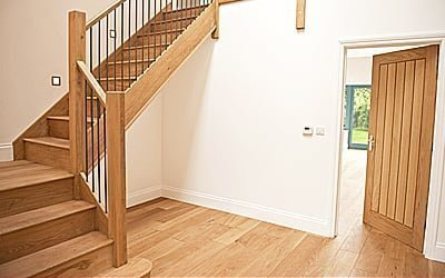 Oak stairs, floor and door