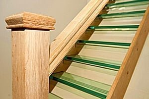 Oak stairs with glass treads