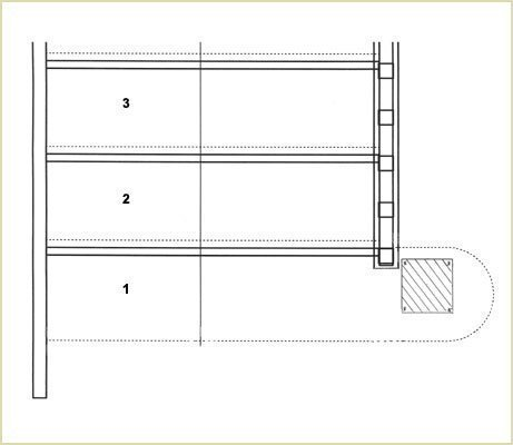 place a temporary glue block (volutes and volute newels)