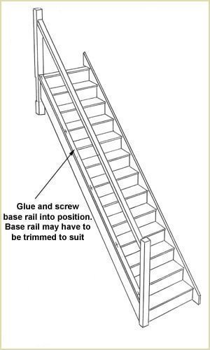 install our staircases - Glue and screw base rail into position.  base rail may have to be cut to suit.
