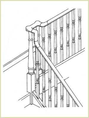 continual handrail system used around landings.