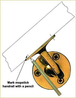 install wall handrails - mark mopstick handrail with a pencil