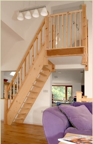 spacesaver stairs made of pine