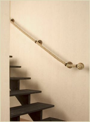 rope handrail for spacesaver staircase
