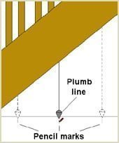 hold plumbline below staircase