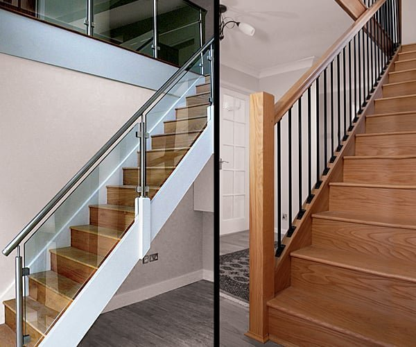 Stairs made from metal, glass and wood