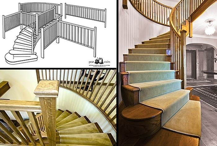 Curved staircase showing curved strings