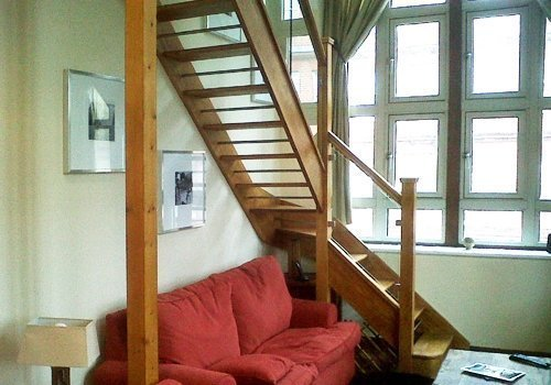 Staircase designed to sit under window